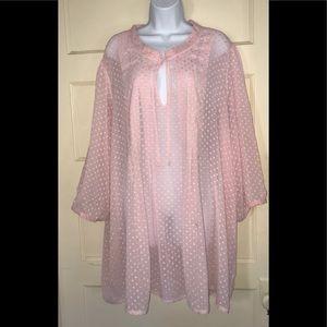 Plus Avenue sheer polka dot blouse pink size 26/28